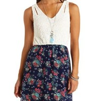 Floral Print & Lace Sleeveless Dress by Charlotte Russe - Navy Combo