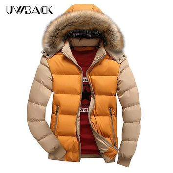 Uwback Men Winter Parkas Fur Hooded Hat Fashion Down Jacket Patchwork Windproof Thick Coats Slim S-5XL Blouson Hiver Homme XA284