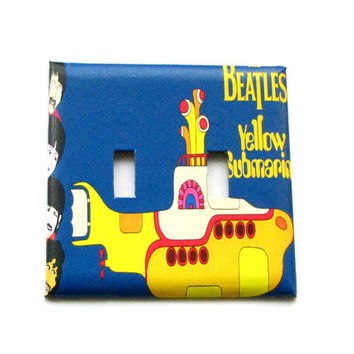 Double Light Switch Cover - Light Switch Plate The Beatles Yellow Submarine