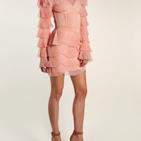 Layered ribbed mini dress | Balmain | MATCHESFASHION.COM US