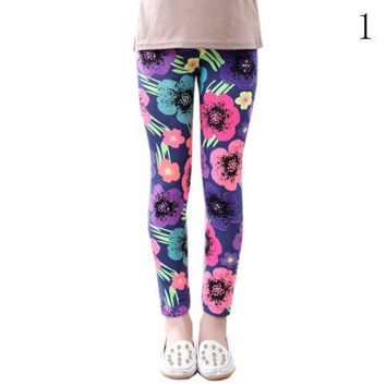 Girls Printed Milk Silk Floral Print Leggings