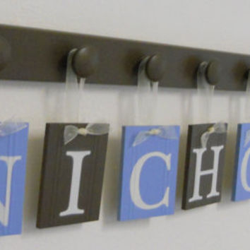 Personalized Wall Letters Custom Name Monogram Sets includes 8 Wooden Pegboard and Letters Chocolate Brown and Light Blue - NICHOLAS