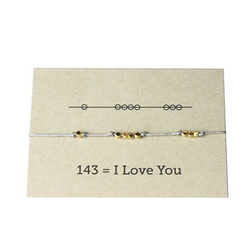 I Love You 143 Cord Bracelet - Grey
