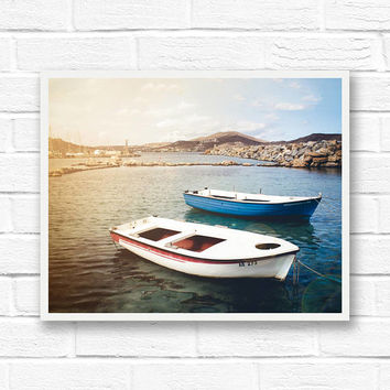 Mediterranean print, Greece photography, boat photography, nautical print, travel photography, bathroom wall art, Europe print, Greece print