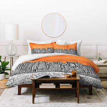 Bird Ave New York Orange Duvet Cover