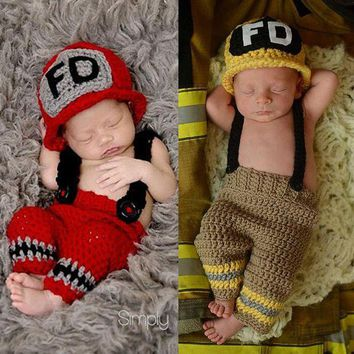 DCCKH6B children knitted suit newborn baby photography accessories make up dress suits fireman costume playing