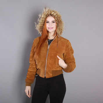 70s Golden Suede BOMBER JACKET / 1970s Fluffy COYOTE Fur Hood Leather Coat, xs-s