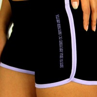 oGorgeous Gym Boutique - Train Insane or Remain the Same Running Shorts in Black/Lavender