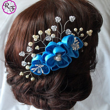Bridal hair accessory , wedding tone comb Kanzashi Flower , Beautiful blue Flower . hair accessory
