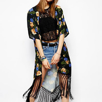 'The Elsa'  Floral Printed Chiffon  Cardigan