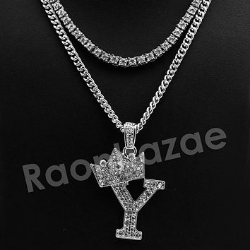King Crown Y Initial Pendant Necklace Set.