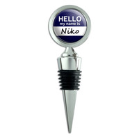 Niko Hello My Name Is Wine Bottle Stopper