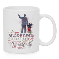 Walt Disney and Mickey Watercolor Coffee Mug, Kids Mug, Disney Quotes Mug