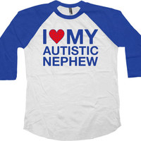 Autism Awareness Shirt Uncle Gifts Autistic Support T Shirt Aunt TShirt Speaks Autism Spectrum Autistic Nephew Baseball Raglan Tee - SA762