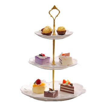 cici store 3 Tier Stainless Steel Cupcake Stand Wedding Birthday Cake Display Tower Without Plates (Gold) (gold)