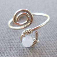 Rainbow Moonstone Wrapped Hammered Silver Wire Spiral Toe Ring Adjustable Size