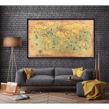 2017 Nautical Ocean Sea world map Retro old Art Paper Painting Home Decor Sticker Living Room Poster Cafe Antique poster