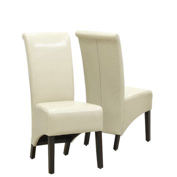 "Taupe Leather-Look 40""H Parson Chair (Set Of 2)"