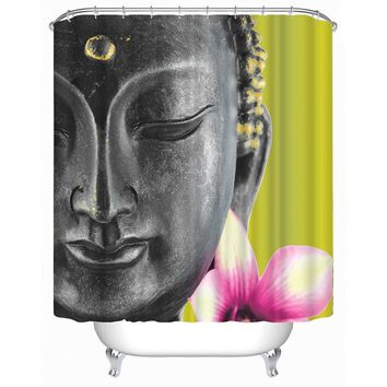 3D Buddha Bathroom Shower Curtains High Quality Water and Midlewproof with Hooks