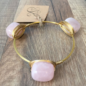 ROSE QUARTZ BANGLE BRACELET