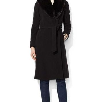 Women's Lauren Ralph Lauren Faux?Fur Collar Long Wool Blend Wrap Coat,