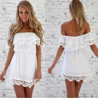 Summer Women Casual Lace Backless Tunic Shift Dress