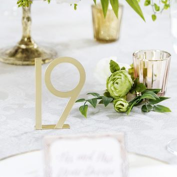 """Pack of 25 Gold Metal Table Numbers - 2.75"""" Tall"""