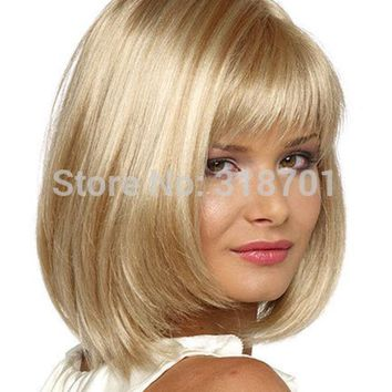 Blonde Wig Silky Straight Short Classy Bob Style Synthetic Wigs For Women Free Shipping