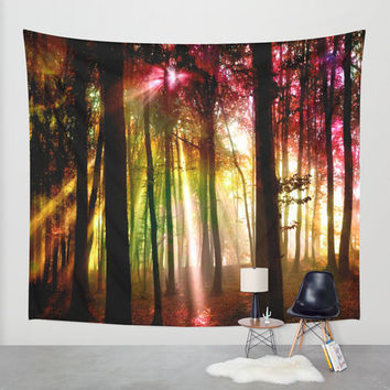 lights in the forest wall tapestry,forest wall tapestry,forest wall decal,forest wall tapestries,magical forest,colorful forest wall decal