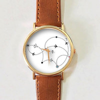 Airplane Route Watch , Women Watches,  Leather Watch, Men's Watch,  Boyfriend Watch, Ladies Watch, Silver Gold Rose Watch, Unique, Gift,