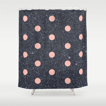 Black Glitter and Pink Polka Dots Shower Curtain by Cafelab