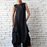 SALE Black Maxi Dress/Extravagant Asymmetric Casual Dress/Oversize Long Black Tunic/Black Sleeveless Kaftan/Loose Black Dress/Plus Size Tuni