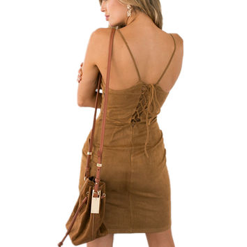 Brown Faux Suede dress 2016 new women sheath backless lace up bandage dresses S-XL sexy stylish tight bodycon vintage vestidos