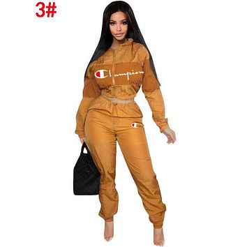 Champion Popular Women Long Sleeve Shirt Sweater Pants Sweatpants Set Two-Piece Sportswear 3#