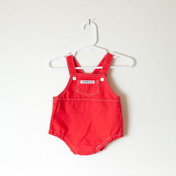 Vintage 70s Baby Romper | Health Tex Overalls Bib Red Girls Boys Unisex Snap Crotch Newborn 3 Month Playsuit One Piece 1970s
