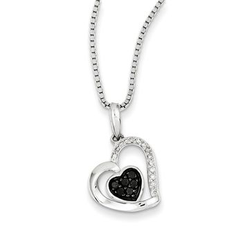 1/6 Ctw Black & White Diamond Double Heart Necklace in Sterling Silver