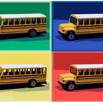 4 School Buses & A Dog 16 x 24 Primary Color Print, Wall Art, Home Decor, Child's Room, Photography