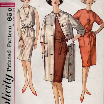 Simplicity 1960s Sewing Pattern Mad Men Style Retro Slim Sheath Dress Spring Coat Overcoat Rain Coat Casual Day Dress Bust 32