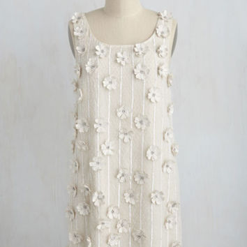 At a Rosette Time Dress in Ivory | Mod Retro Vintage Dresses | ModCloth.com