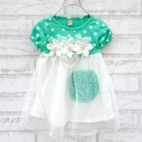 Hot Sell Baby Girls Dress 4 Colors Newborn Baby Princess Dress Floral Dot Short Sleeve Baby Girl Clothes Flower Girl Dresses