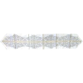 Table Runner Birds White-Silver