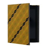 Black Gold and Olive Modern Abstract Stripe iPad Folio Cases