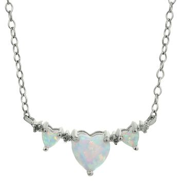 .75 CT 3 Heart White Created Opal 925 Sterling Silver Necklace