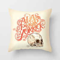 Hamlet Skull Throw Pillow by Rachel Caldwell | Society6