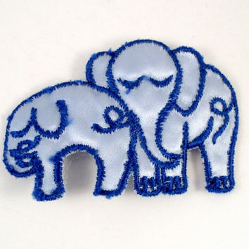 Vintage Sew On Patch Blue Elephants 1970s Small