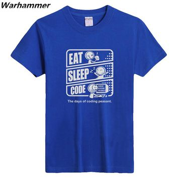 Warhammer New Programmer T shirt Print EAT SLEEP CODE Men T shirt Programmer Shirt Short Sleeve O-neck Cotton Summer Geek Tshirt