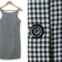 Vintage Gingham Dress~Size 5/Medium~90s Plaid Black White Button Up Short Shift Dress~By A-list by Wrapper