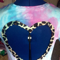 Tiedye leopard print heart back tee  by AngeliqueMerici on Etsy
