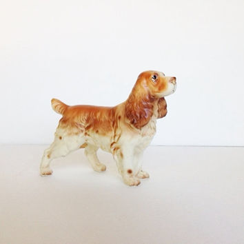Vintage Cavalier King Charles Cocker Spaniel Dog Canine Figurine Ceramic Porcelain Made by Enesco Japan