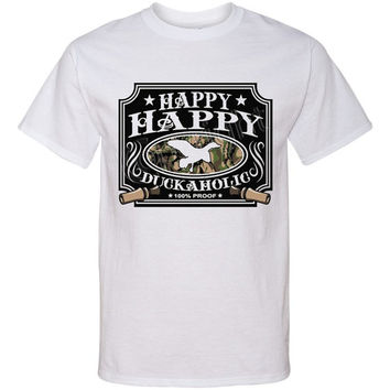 HAPPY HAPPY DUCKAHOLIC Screen Print T Shirt Duck Hunter Funny Screenprint Tee...Free Shipping!!